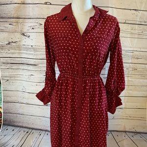 Xhilatation Polka dot cranberry dress. Size M